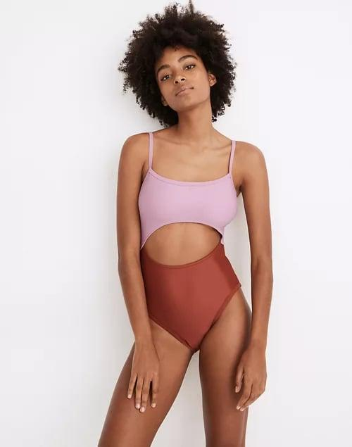 <p>Cutout swim is a must-have silhouette this summer. The <span>Madewell Cutout One Piece</span> ($70) comes in several prints and colors.</p>