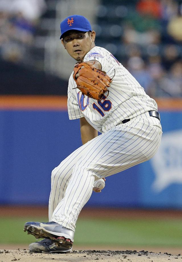 New York Mets' Daisuke Matsuzaka, of Japan, delivers during the first inning of a baseball game against the Detroit Tigers, Friday, Aug. 23, 2013, in New York. (AP Photo/Frank Franklin II)