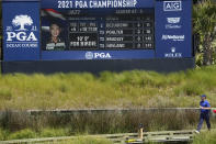 Branden Grace walks on a bridge on the 13th hole during the second round of the PGA Championship golf tournament on the Ocean Course Friday, May 21, 2021, in Kiawah Island, S.C. (AP Photo/David J. Phillip)