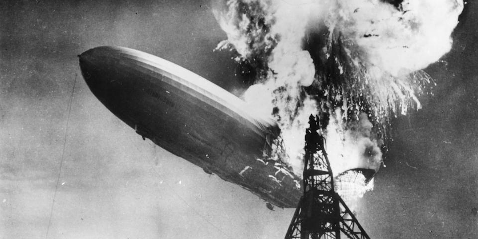 The Hindenburg disaster at Lakehurst, New Jersey, which marked the end of the era of passenger-carrying airships. Photo: Sam Shere/Getty Images