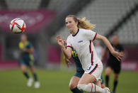United States' Samantha Mewis goes for the ball during a women's soccer match against Australia at the 2020 Summer Olympics, Tuesday, July 27, 2021, in Kashima, Japan. (AP Photo/Fernando Vergara)