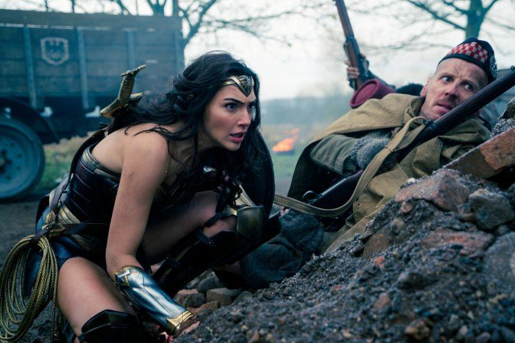 Gal Gadot and Ewen Bremner in 'Wonder Woman'
