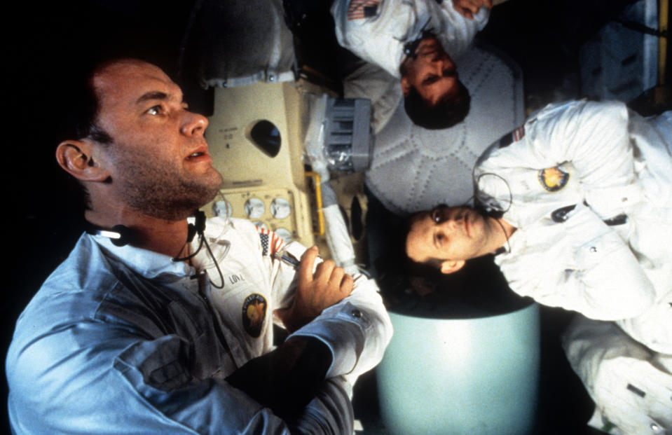 Tom Hanks, Kevin Bacon, and Bill Paxton in zero gravity in a scene from the film 'Apollo 13', 1995. (Photo by Universal/Getty Images)