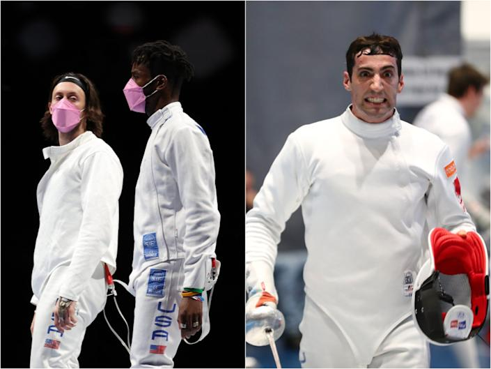 (Left to right) Jacob Hoyle and Curtis McDowald wear pink masks, reportedly to protest teammate Alen Hadzic, who has been accused of sexual assault