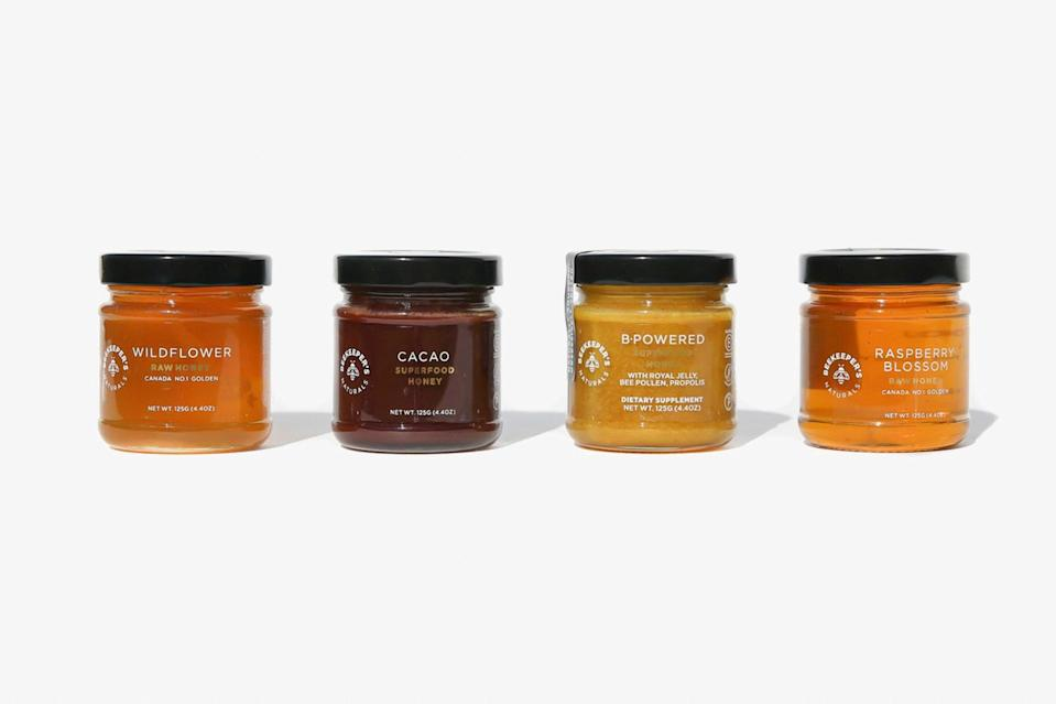 """Raw, sustainably sourced, and utterly therapeutic, these wildcrafted honeys are hand-harvested from apiaries around the globe. This set is perfect for breaking up as <a href=""""https://www.cntraveler.com/story/best-food-gifts?mbid=synd_yahoo_rss"""" rel=""""nofollow noopener"""" target=""""_blank"""" data-ylk=""""slk:foodie stocking stuffers"""" class=""""link rapid-noclick-resp"""">foodie stocking stuffers</a>—or hoarding one or two for yourself. $35, Beekeeper's Naturals. <a href=""""https://beekeepersnaturals.com/products/honey-flightplus"""" rel=""""nofollow noopener"""" target=""""_blank"""" data-ylk=""""slk:Get it now!"""" class=""""link rapid-noclick-resp"""">Get it now!</a>"""
