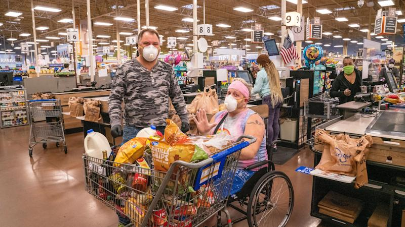 Elderly shoppers at Kroger who had their groceries paid for by Tyler Perry. (Photo: Kroger)