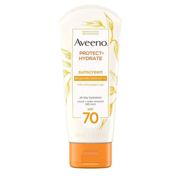 """<p><strong>Dani Kwateng-Clark, Executive Editor</strong></p> <p>Aveeno Protect + Hydrate SPF 70 works for my face all year long to combat hyperpigmentation. It's doesn't chalk on my skin, dries fast, and keeps my face hydrated all day. Also, it's pretty affordable for how great it is!</p> $10, Amazon. <a href=""""https://www.amazon.com/Aveeno-Moisturizing-Antioxidant-Water-Resistant-Travel-Size/dp/B00ABIF5SS"""" rel=""""nofollow noopener"""" target=""""_blank"""" data-ylk=""""slk:Get it now!"""" class=""""link rapid-noclick-resp"""">Get it now!</a>"""