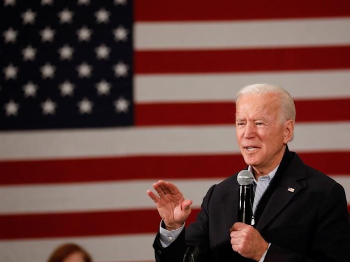 """FILE PHOTO: Democratic 2020 U.S. presidential candidate and former U.S. Vice President Joe Biden speaks during a town hall meeting, during his """"No Malarkey!"""" campaign bus tour at Iowa State University in Ames, Iowa, U.S., December 4, 2019.  REUTERS/Shannon Stapleton"""