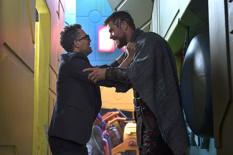 "<p><em>Thor: Ragnarok</em> will help explain what Bruce Banner (Mark Ruffalo) and Thor (Hemsworth) were up to while Iron Man and Captain America had their <em>Civil War. </em>But their happy reunion will be cut short when <a rel=""nofollow"" href=""https://www.yahoo.com/movies/thor-ragnarok-shares-new-on-set-photo-and-synopsis-revealing-hulk-vs-thor-gladatorial-contest-154539498.html"">they are forced to fight each other</a>. (Photo: Marvel) </p>"