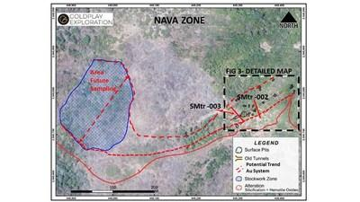 Figure 1 Nava - Location to the west of the San Marcial Resource and the Faisanes Target (CNW Group/Goldplay Exploration Ltd)
