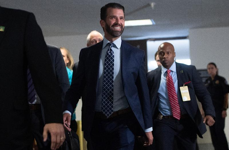 Donald Trump Jr arrives to testify before the US Senate Intelligence Committee in Washington, DC on June 12, 2019, where he was questioned about his contacts with Russians (AFP Photo/SAUL LOEB)