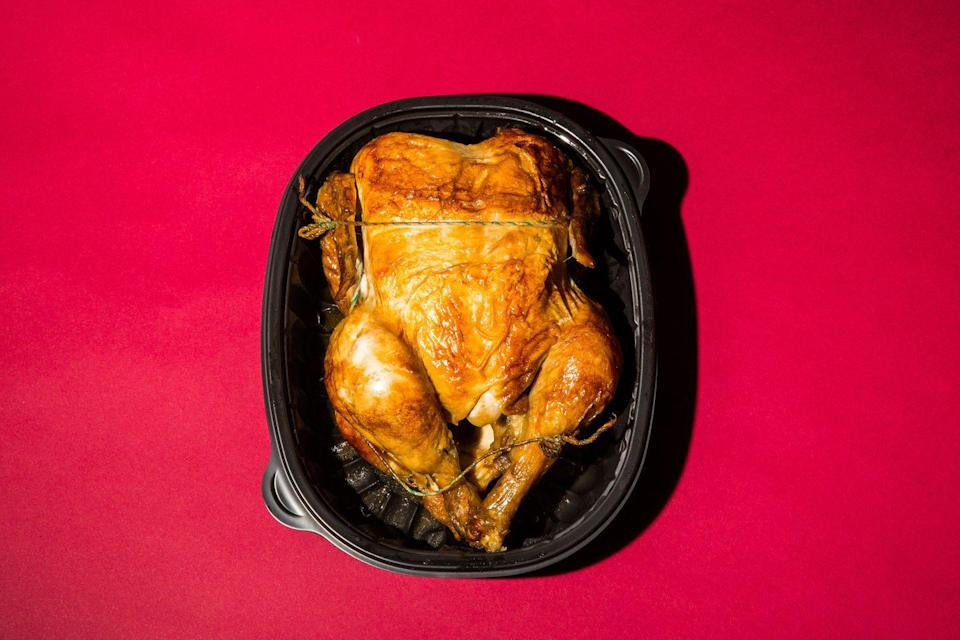 """<p>Same goes for supermarket roasted birds—they <a href=""""https://www.womenshealthmag.com/food/a27420968/is-rotisserie-chicken-healthy/"""" rel=""""nofollow noopener"""" target=""""_blank"""" data-ylk=""""slk:often contain"""" class=""""link rapid-noclick-resp"""">often contain</a> far more sodium and saturated fat than your typical home-cooked poultry products if you purchase them fully seasoned and with skin on. </p><p>Roast your own at home (try our <a href=""""https://www.prevention.com/food-nutrition/a22775999/the-ultimate-roasted-whole-chicken/"""" rel=""""nofollow noopener"""" target=""""_blank"""" data-ylk=""""slk:Ultimate Roasted Whole Chicken recipe"""" class=""""link rapid-noclick-resp"""">Ultimate Roasted Whole Chicken recipe</a>!) to control the amount of added sodium or seek out an unseasoned chicken and remove the skin to trim down on saturated fat.</p>"""