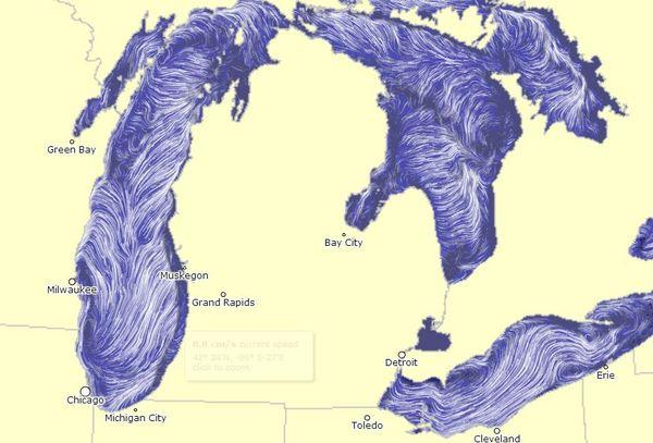 Another view of the currents on the surface of Lake Michigan and other nearby lakes, taken from the website on Oct. 3, 2012.