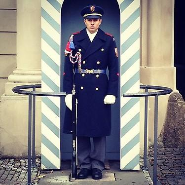 Guard on duty outside Prague Castle. (#NickInEurope)