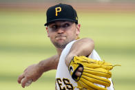 Pittsburgh Pirates starting pitcher Wil Crowe delivers during the first inning of the team's baseball game against the San Francisco Giants in Pittsburgh, Thursday, May 13, 2021.(AP Photo/Gene J. Puskar)