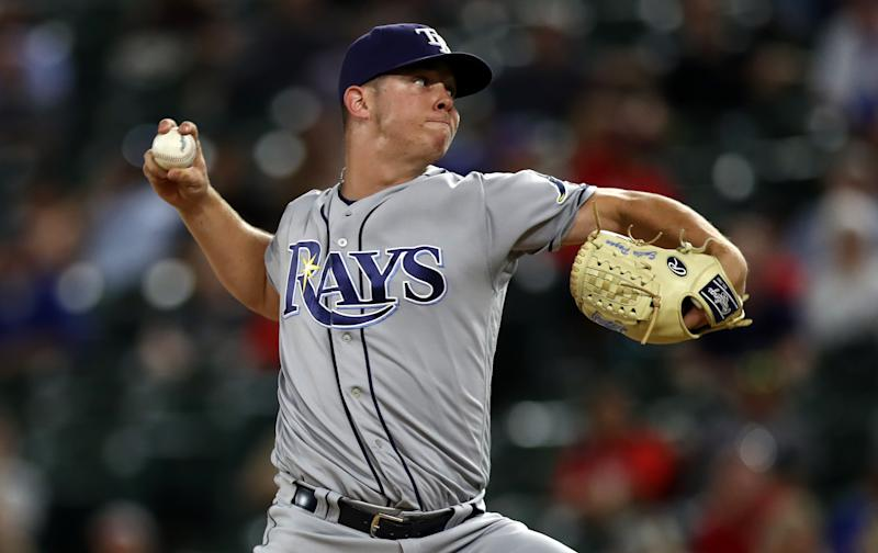 ARLINGTON, TEXAS - SEPTEMBER 10: Emilio Pagan #15 of the Tampa Bay Rays at Globe Life Park in Arlington on September 10, 2019 in Arlington, Texas. (Photo by Ronald Martinez/Getty Images)