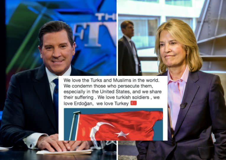 Eric Bolling and Greta Van Susteren's Twitter accounts were temporarily hacked on Tuesday. (Photo: Getty Images/Twitter)