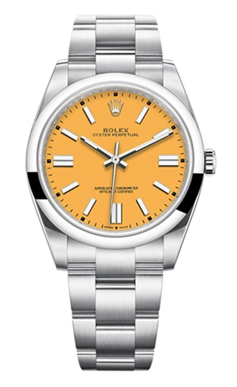 """<p>Oyster Perpetual 36</p><p><a class=""""link rapid-noclick-resp"""" href=""""https://www.rolex.com/watches/oyster-perpetual/m126000-0004.html"""" rel=""""nofollow noopener"""" target=""""_blank"""" data-ylk=""""slk:SHOP"""">SHOP</a></p><p>A Rolex on the wrist is a serious investment. And thus, a serious watch. Though for all the commanding Wall Street presence of a big Day-Date, the industry's biggest marque is releasing watches that are a bit fun, a little bit more playful – watches just like the new Oyster Perpetual 36.</p><p><a href=""""https://www.esquire.com/uk/watches/a33857746/new-rolex-watches-2020/"""" rel=""""nofollow noopener"""" target=""""_blank"""" data-ylk=""""slk:Quietly released just a few months ago"""" class=""""link rapid-noclick-resp"""">Quietly released just a few months ago</a>, a tangerine dial on stainless steel is the off-duty Rolex collectors have long dreamt about, and better yet, it's no solo act: the Oyster Perpetual 36 sits within a larger collection of five watches in shades of candyfloss pink, forest green, sky blue and blood red. </p><p>£4,450; <a href=""""https://www.rolex.com/watches/oyster-perpetual/m126000-0004.html"""" rel=""""nofollow noopener"""" target=""""_blank"""" data-ylk=""""slk:rolex.com"""" class=""""link rapid-noclick-resp"""">rolex.com</a></p>"""