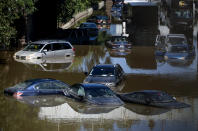 Cars and trucks are stranded by high water Thursday, Sept 2, 2021, on the Major Deegan Expressway in Bronx borough of New York as high water left behind by Hurricane Ida still stands on the highway hours later. (AP Photo/Craig Ruttle)