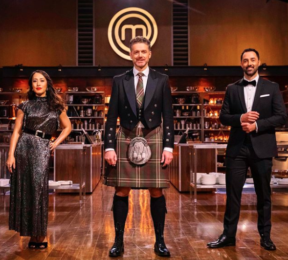 Jock Zonfrillo wears a kilt, Melissa Leong wears a sparkling evening gown and Andy Allen wears a tuxedo for MasterChef 2020 Back to Win final fans lose it over Jock's kilt