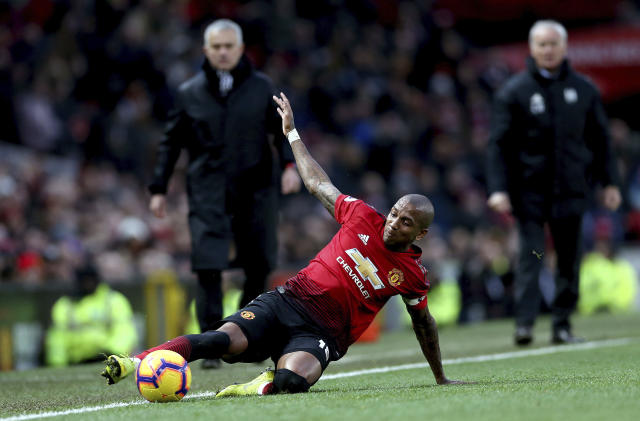 Manchester United's Ashley Young controls the ball, during the English Premier League soccer match between Manchester United and Fulham, at Old Trafford, Manchester, England, Saturday, Dec. 8, 2018. (Barrington Coombs/PA via AP)
