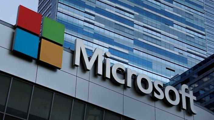 The Microsoft sign is shown on top of the Microsoft Theatre in Los Angeles, California