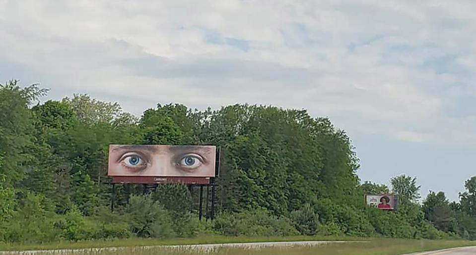 A billboard with eyes seen in Lansing, Michigan.