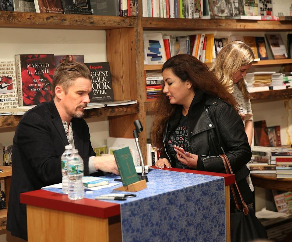 "<p>Two-time Academy Award winner (one for best adapted screenplay) Ethan Hawke has written three novels and one graphic novel since 1996. His most recent book, <em>Rules for a Knight</em>, is a letter from a knight to his children before he rides off into battle that Ethan imagined as one of his early, early ancestors, he told <em><a href=""https://www.newyorker.com/culture/culture-desk/ethan-hawke-explains-his-thing-for-knights"" rel=""nofollow noopener"" target=""_blank"" data-ylk=""slk:The New Yorker"" class=""link rapid-noclick-resp"">The New Yorker</a></em>. </p><p>He also told the magazine that the book started simply as the rules of his family's house, but turned into a reflection on their values and what they believe. The first recipients of a published copy of the rules were his kids before the <em>Boyhood</em> star invited all of us to be part of his roundtable.</p><p><a class=""link rapid-noclick-resp"" href=""https://www.amazon.com/Rules-Knight-Ethan-Hawke/dp/0307962334?tag=syn-yahoo-20&ascsubtag=%5Bartid%7C2139.g.34385633%5Bsrc%7Cyahoo-us"" rel=""nofollow noopener"" target=""_blank"" data-ylk=""slk:Buy the Book"">Buy the Book</a></p>"