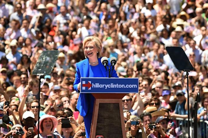 Former Secretary of State Hillary Clinton officially launches her campaign for the Democratic presidential nomination on June 13, 2015 in New York (AFP Photo/Timothy A. Clary)