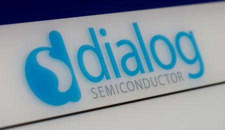 Dialog semiconductor logo is pictured at company building in Germering