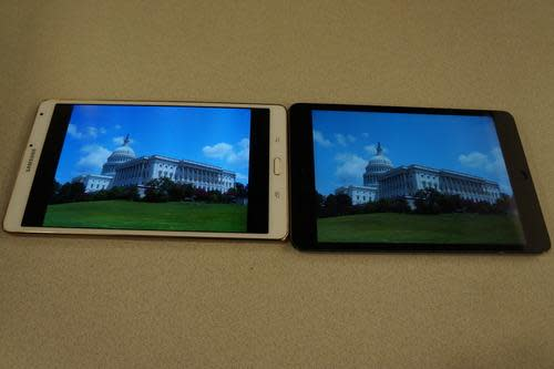 Samsung Galaxy Tab S 8.4 and iPad mini screens