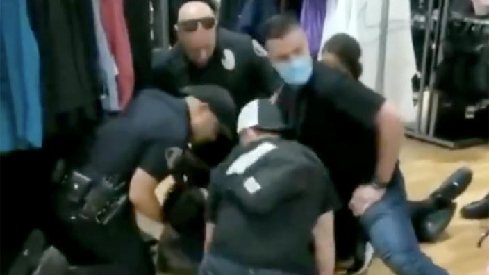 A screengrab from an incident of police brutality in Glendale, Calif. (via @Imposter_Edits /Twitter)