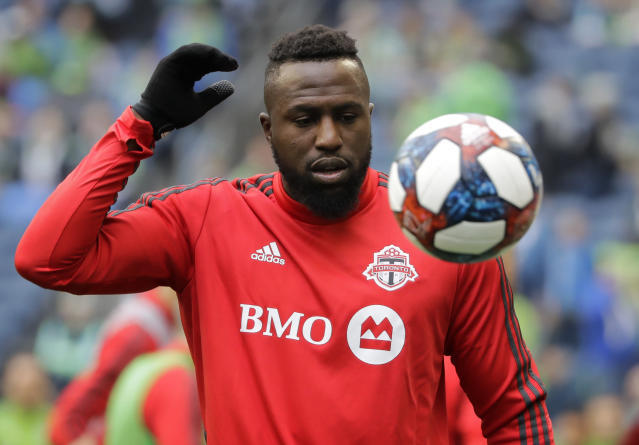 Toronto FC's Jozy Altidore warms up before the MLS Cup championship soccer match between the Seattle Sounders and Toronto FC, Sunday, Nov. 10, 2019, in Seattle. (AP Photo/Elaine Thompson)