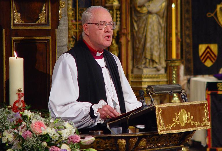 Dr George Carey, Archbishop of Canterbury, speaks at the funeral of Queen Elizabeth, the Queen Mother, in London on April 9, 2002