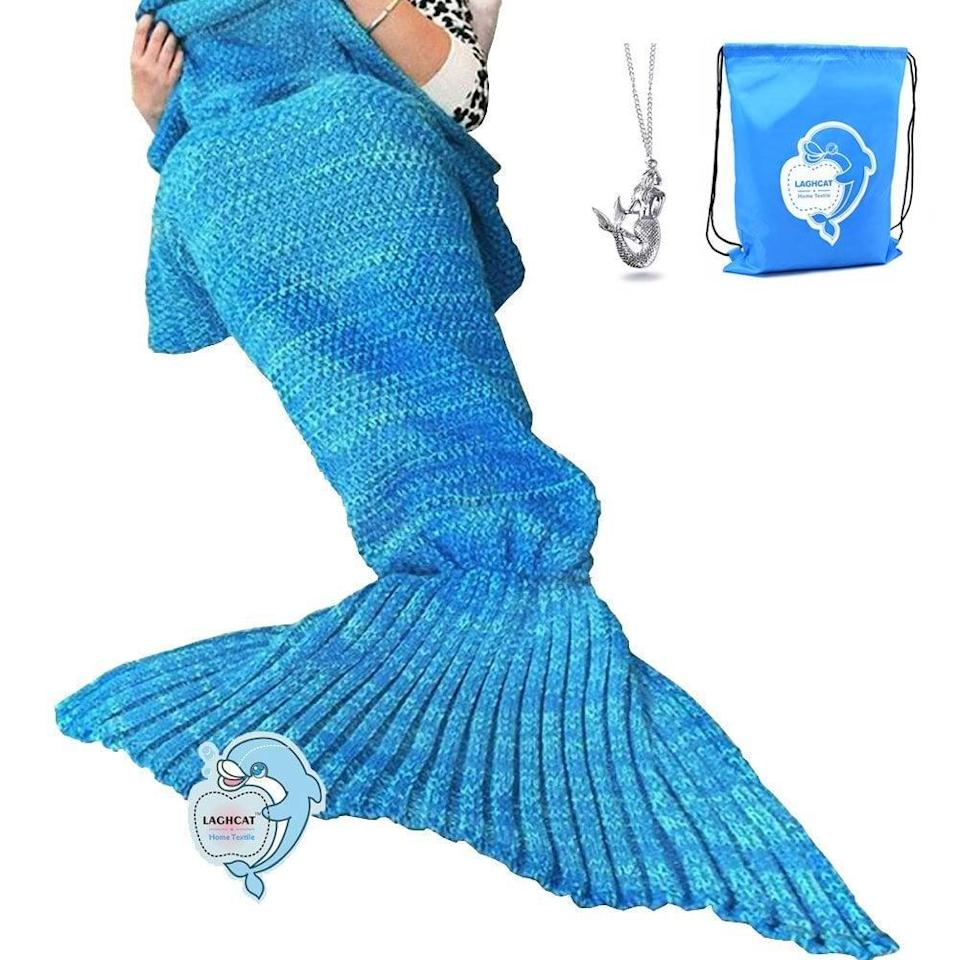 <p>This <span>Laghcat Mermaid Tail Blanket </span> ($14, originally $19) comes with a backpack to store it in and a necklace as well. </p>