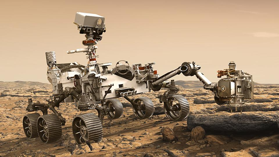 Artwork: The Sherloc instrument is in the turret on the end of the robotic arm