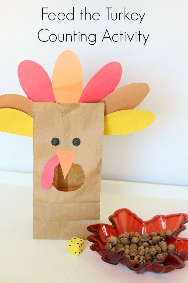 """<p>Reinforce youngins' counting skills by feeding a brown paper bag turkey. Collect acorns on a nature walk to be the """"food.""""</p><p><em><a href=""""http://mominspiredlife.com/feed-the-turkey-counting-activity/"""" rel=""""nofollow noopener"""" target=""""_blank"""" data-ylk=""""slk:Get the tutorial at Mom Inspired Life »"""" class=""""link rapid-noclick-resp"""">Get the tutorial at Mom Inspired Life »</a></em><br></p>"""