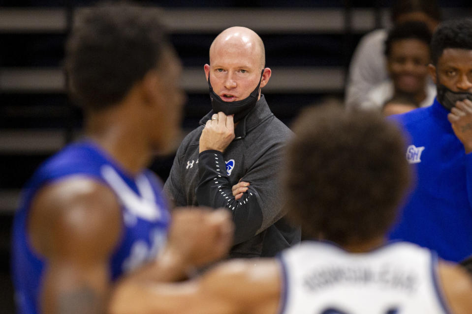 Seton Hall head coach Kevin Willard watches from the sideline during the first half of an NCAA college basketball game against Villanova, Tuesday, Jan. 19, 2021, in Villanova, Pa. (AP Photo/Laurence Kesterson)