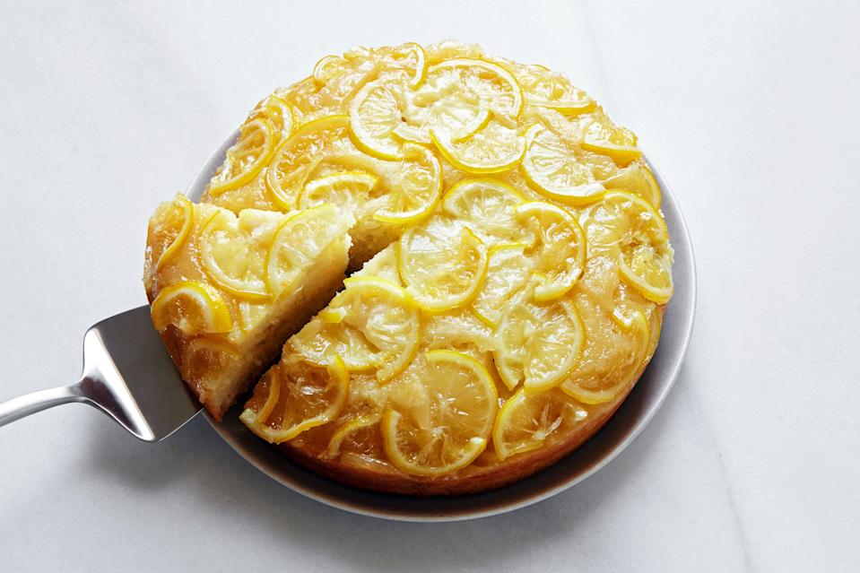 """In a world turned upside down, it just feels right to make an upside down cake. This version makes the most of backyard lemons—but there are lots of <a href=""""https://www.epicurious.com/expert-advice/upside-down-cakes-lemon-dried-fruit-article?mbid=synd_yahoo_rss"""" rel=""""nofollow noopener"""" target=""""_blank"""" data-ylk=""""slk:other options"""" class=""""link rapid-noclick-resp"""">other options</a>. <a href=""""https://www.epicurious.com/recipes/food/views/backyard-citrus-upside-down-cake-dappled?mbid=synd_yahoo_rss"""" rel=""""nofollow noopener"""" target=""""_blank"""" data-ylk=""""slk:See recipe."""" class=""""link rapid-noclick-resp"""">See recipe.</a>"""