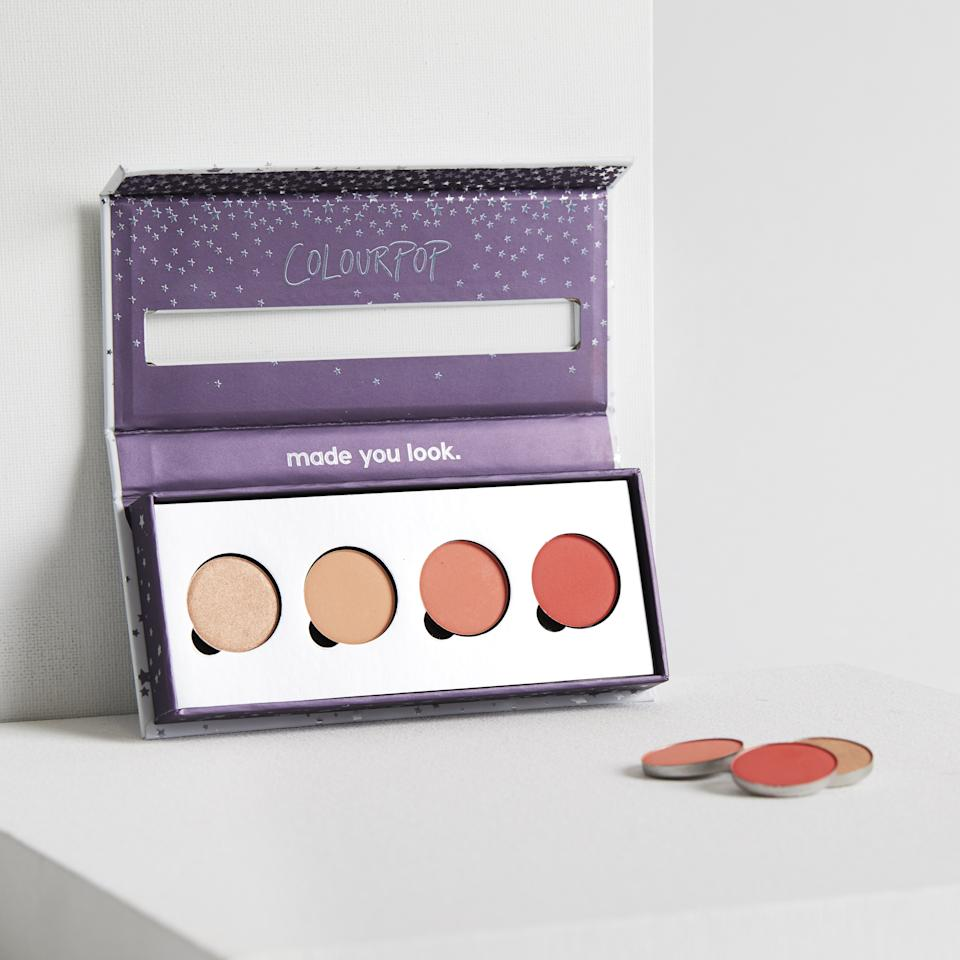 """<p>We love a shadow palette. Coordinating shades housed in a convenient container? Sign us up! What we love most about this quad are the peachy-coral hues—perfect for a springtime wedding. <em>($18, <a rel=""""nofollow"""" href=""""https://colourpop.com/collections/nectar/products/blow-me-away?mbid=synd_yahoolife"""">ColourPop</a>)</em></p>"""