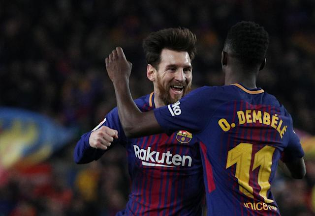 Soccer Football - La Liga Santander - FC Barcelona vs Girona - Camp Nou, Barcelona, Spain - February 24, 2018 Barcelona's Lionel Messi celebrates scoring their third goal with Ousmane Dembele REUTERS/Sergio Perez