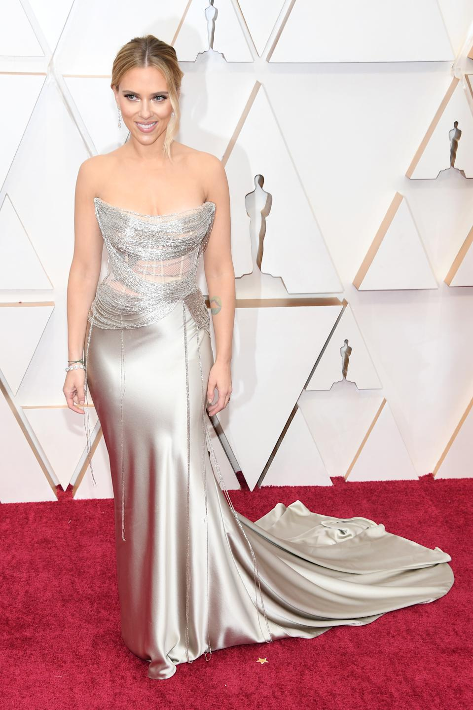 """Johansson (in Oscar de la Renta) has more than one reason to celebrate this year. The star is a double nominee for her roles in """"Marriage Story"""" and """"Jojo Rabbit."""""""