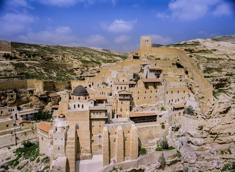 Built into a canyon in the Judean Desert, the Mar Saba Monastery was founded by the Greek Orthodox monk, Saint Sabas, (Mar Saba in Arabic) in the 5th century CE (AD), and is still inhabited today.