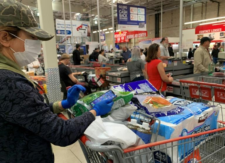 Shoppers were restricted to two crates of water each at Coscto in Burbank, California