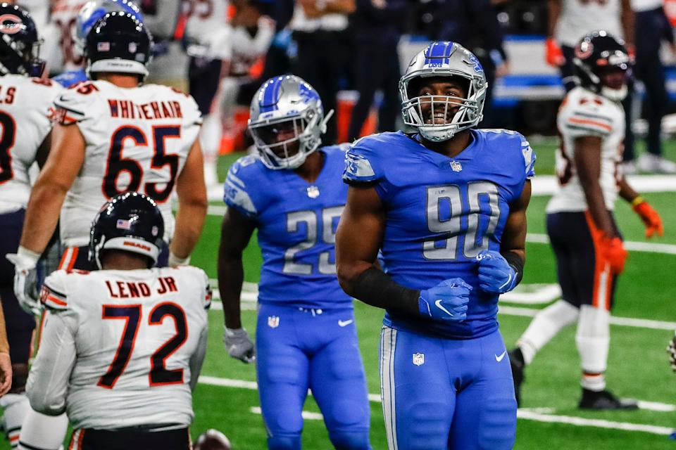 Detroit Lions defensive end Trey Flowers (90) celebrates a tackle against the Chicago Bears during the second half at Ford Field, Sunday, Sept. 13, 2020.