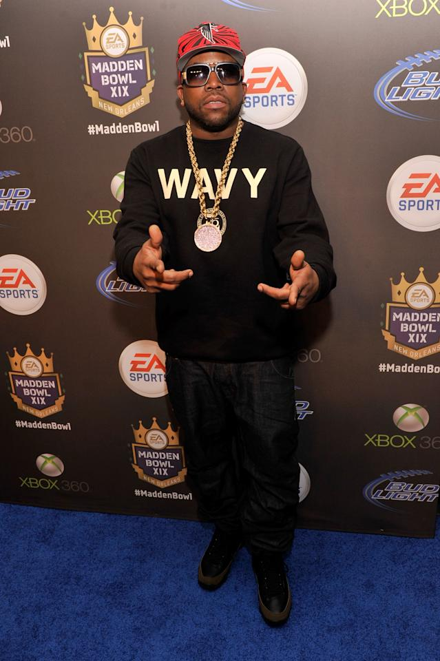 NEW ORLEANS, LA - JANUARY 31:  Rapper Big Boi arrives at EA SPORTS Madden Bowl XIX at the Bud Light Hotel on January 31, 2013 in New Orleans, Louisiana.  (Photo by Stephen Lovekin/Getty Images for Bud Light)