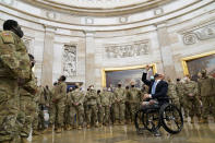 Rep. Brian Mast, R-Fla., gives troops a tour in the Rotunda on Capitol Hill in Washington, Wednesday, Jan. 13, 2021. (AP Photo/Susan Walsh)