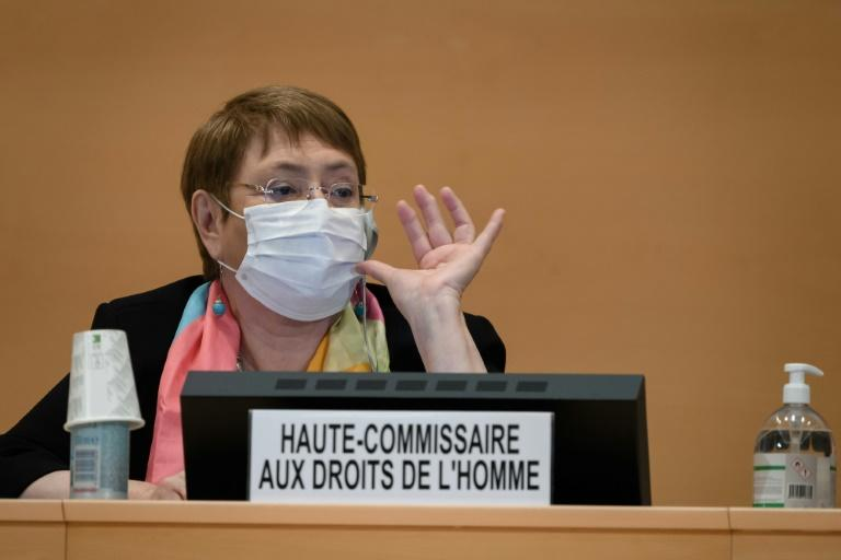 The text calls on UN rights chief Michelle Bachelet to include updates on police brutality against people of African descent in the United States and elsewhere at each future council session (AFP Photo/Fabrice COFFRINI)