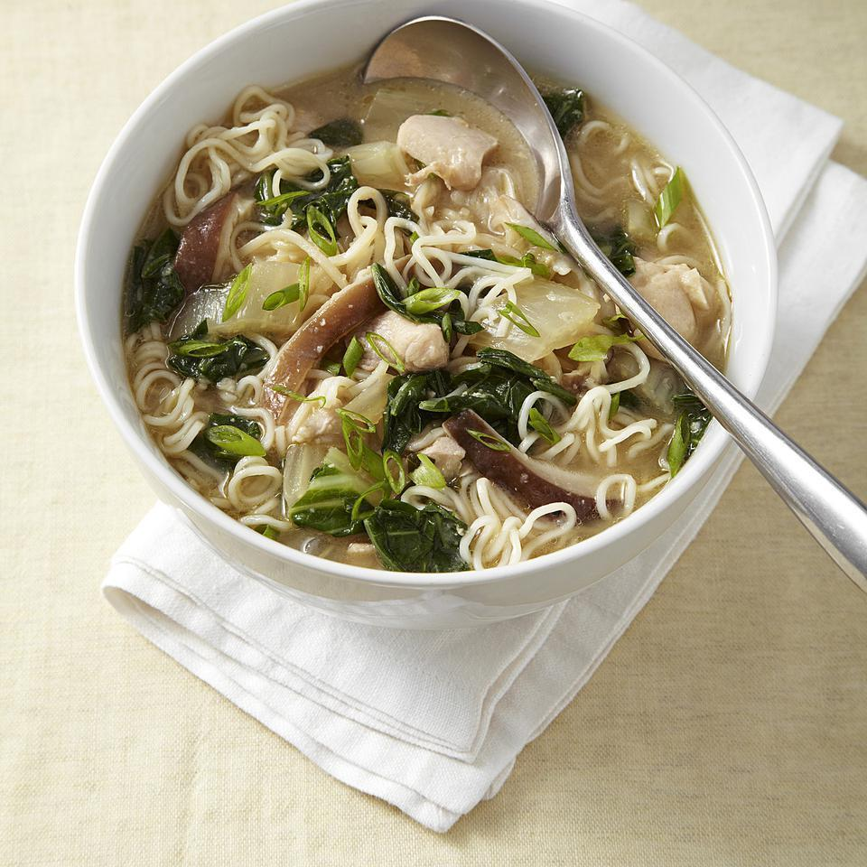 <p>Warm up a chilly evening with this healthy chicken-and-vegetable ramen noodle bowl recipe. For a little spice, top with hot sauce, such as Sriracha. Look for dried curly Chinese-style noodles near other Asian ingredients in most well-stocked supermarkets. For a substitute, try whole-wheat angel hair pasta and cook for a few minutes longer.</p>