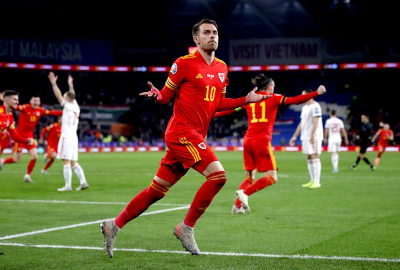 Wales' Aaron Ramsey celebrates scoring his side's second goal of the game during the UEFA Euro 2020 Qualifying match at the Cardiff City Stadium. (Photo by Nick Potts/PA Images via Getty Images)